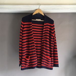 Open front long striped cardigan with pockets
